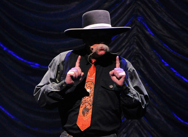 Cowboy poet Waddie Mitchell performs during the Nevada Sesquicentennial All-Star Concert at The Smith Center on Monday, Sept. 22, 2014, in Las Vegas. The variety show, featuring many Las Vegas ent ...