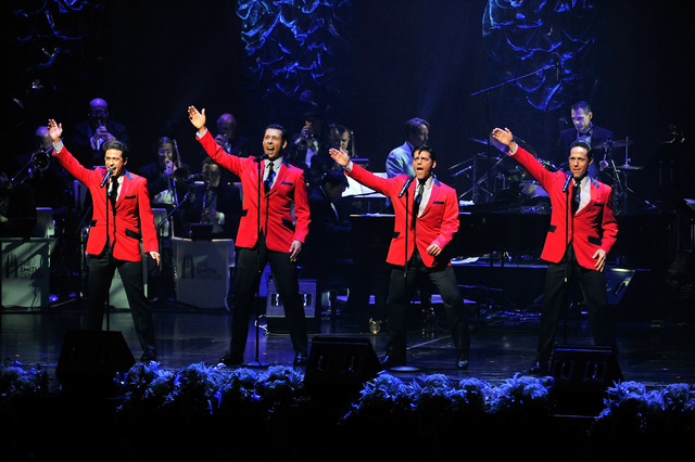 The Jersey Boys perform during the Nevada Sesquicentennial All-Star Concert at The Smith Center on Monday, Sept. 22, 2014, in Las Vegas. The variety show, featuring many Las Vegas entertainers, ce ...