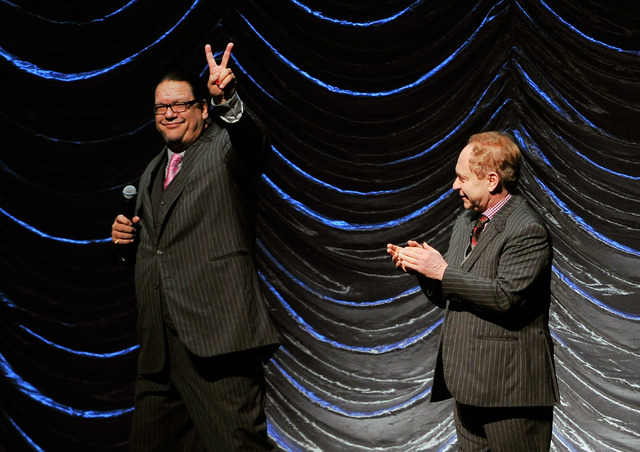 Penn, left, & Teller introduce the beginning of the Nevada Sesquicentennial All-Star Concert at The Smith Center on Monday, Sept. 22, 2014, in Las Vegas. The variety show, featuring many Las Vegas ...