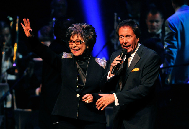 Singers Lorraine Hunt, left, and Dennis Bono perform during the Nevada Sesquicentennial All-Star Concert at The Smith Center on Monday, Sept. 22, 2014, in Las Vegas. The variety show, featuring ma ...