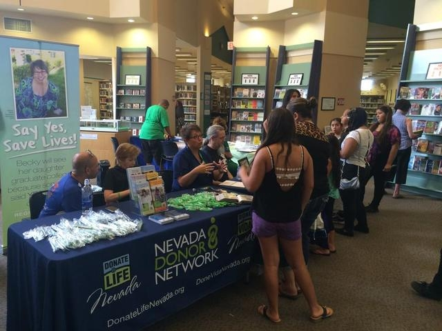 Nevada Donor Network volunteers speak with Henderson residents at a health fair Aug. 2 at the Green Valley Library, 2797 N. Green Valley Parkway. More than 123,000 people are on the nationwide org ...