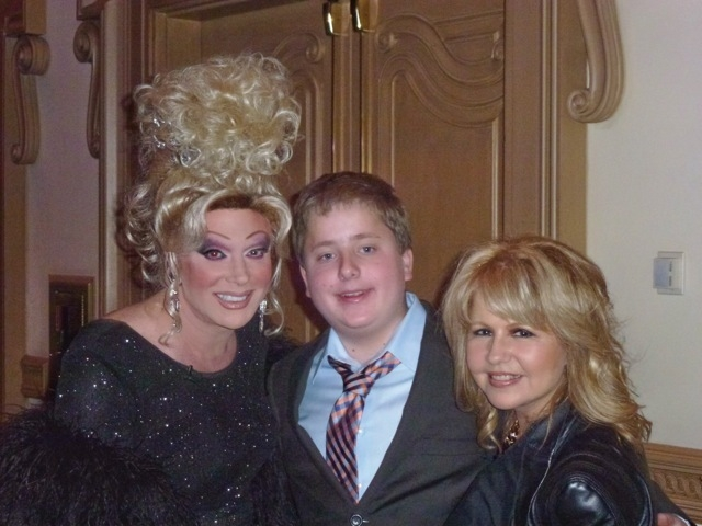 Pia Zadora with her son, Jordan, and female impersonator Frank Marino, at a Missing Children fundraiser. (Courtesy Phillip Cox)