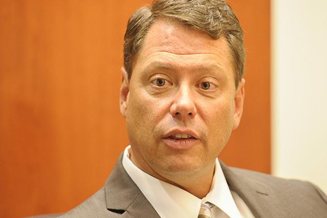 Clark County School Superintendent Pat Skorkowsky speaks to the Las Vegas Review-Journal editorial board on Thursday, Aug. 21, 2014. (Mark Damon/Las Vegas Review-Journal)