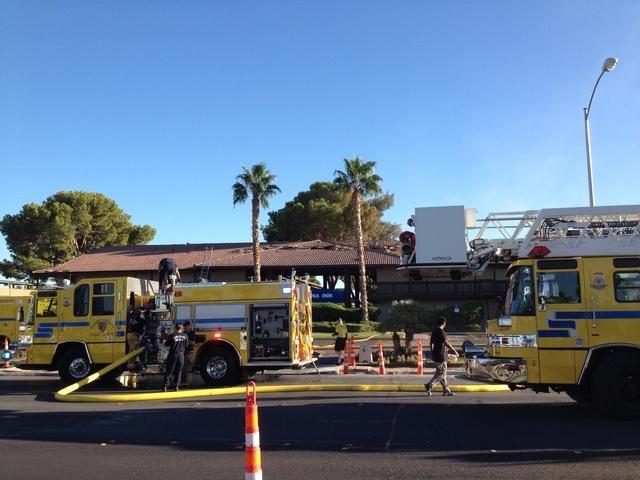 A fire burns near the UNLV campus on Wednesday. (Justin Yurkanin/Las Vegas Review-Journal)