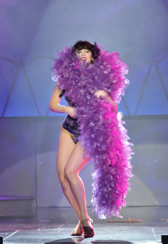 """Claire Sinclair performs during """"Pin Up"""" at the Stratosphere at 2000 Las Vegas Blvd. South, on Thursday, Aug. 21, 2014. (Bill Hughes/Las Vegas Review-Journal)"""