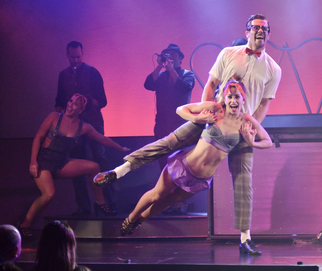 """Nadia Albulet performs with Ryan Kelsey during """"Pin Up"""" at the Stratosphere at 2000 Las Vegas Blvd. South, on Thursday, Aug. 21, 2014. (Bill Hughes/Las Vegas Review-Journal)"""