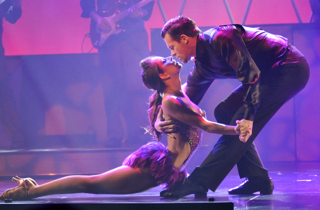 """Nadia Albulet, left, performs with Ryan Kelsey during """"Pin Up"""" at the Stratosphere at 2000 Las Vegas Blvd. South, on Thursday, Aug. 21, 2014. (Bill Hughes/Las Vegas Review-Journal)"""