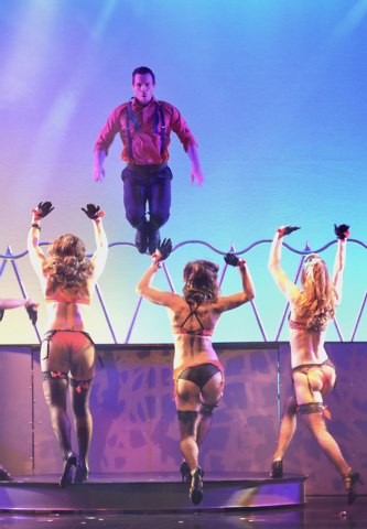 """Ryan Kelsey goes airborne during """"Pin Up"""" at the Stratosphere at 2000 Las Vegas Blvd. South, on Thursday, Aug. 21, 2014. (Bill Hughes/Las Vegas Review-Journal)"""