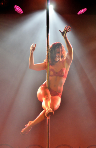 """Claudia Mitria performs during """"Pin Up"""" at the Stratosphere at 2000 Las Vegas Blvd. South, on Thursday, Aug. 21, 2014. (Bill Hughes/Las Vegas Review-Journal)"""