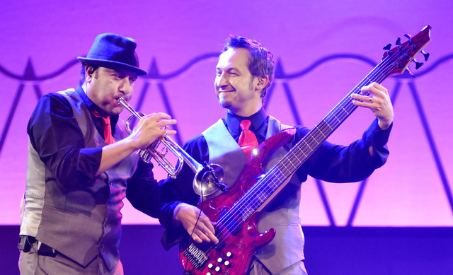 """David Perrico, left, and Jozef Bobula perform during """"Pin Up"""" at the Stratosphere at 2000 Las Vegas Blvd. South, on Thursday, Aug. 21, 2014. (Bill Hughes/Las Vegas Review-Journal)"""