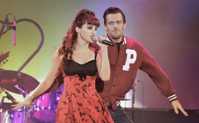 "Lisa Marie Smith, left, performs with Ryan Kelsey during ""Pin Up"" at the Stratosphere at 2000 Las Vegas Blvd. South, on Thursday, Aug. 21, 2014. (Bill Hughes/Las Vegas Review-Journal)"