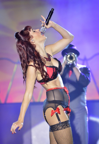"""Lisa Marie Smith performs during """"Pin Up"""" at the Stratosphere at 2000 Las Vegas Blvd. South, on Thursday, Aug. 21, 2014. (Bill Hughes/Las Vegas Review-Journal)"""