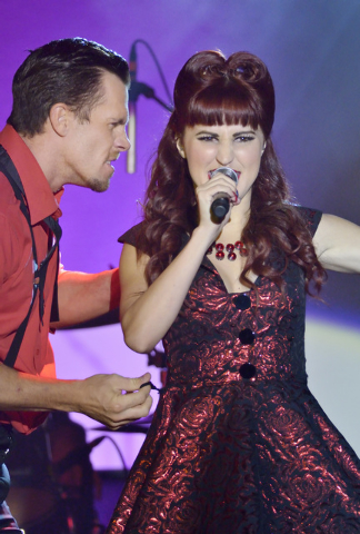 """Ryan Kelsey, left, performs with Lisa Marie Smith during """"Pin Up"""" at the Stratosphere at 2000 Las Vegas Blvd. South, on Thursday, Aug. 21, 2014. (Bill Hughes/Las Vegas Review-Journal)"""