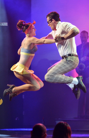 "Megan Kovitch, left, performs with Ryan Kelsey during ""Pin Up"" at the Stratosphere at 2000 Las Vegas Blvd. South, on Thursday, Aug. 21, 2014. (Bill Hughes/Las Vegas Review-Journal)"