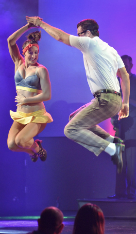 """Megan Kovitch, left, performs with Ryan Kelsey during """"Pin Up"""" at the Stratosphere at 2000 Las Vegas Blvd. South, on Thursday, Aug. 21, 2014. (Bill Hughes/Las Vegas Review-Journal)"""