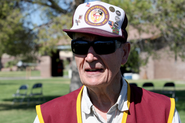 Ex-POW Carroll Knutson talks about what freedom means to him during a ceremony Friday, Sept 19, 2014, at Nellis Air Force Base to remember prisoners of war and those missing in action. (Michael Qu ...