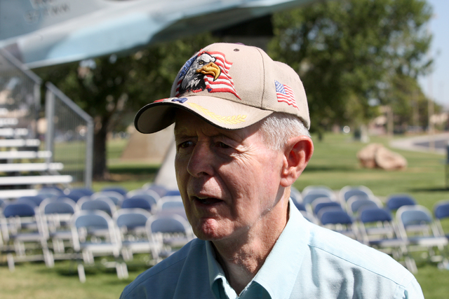 Ex-POW Steve Long talks about what freedom means to him during a ceremony Friday, Sept 19, 2014, at Nellis Air Force Base to remember prisoners of war and those missing in action. (Michael Quine/L ...