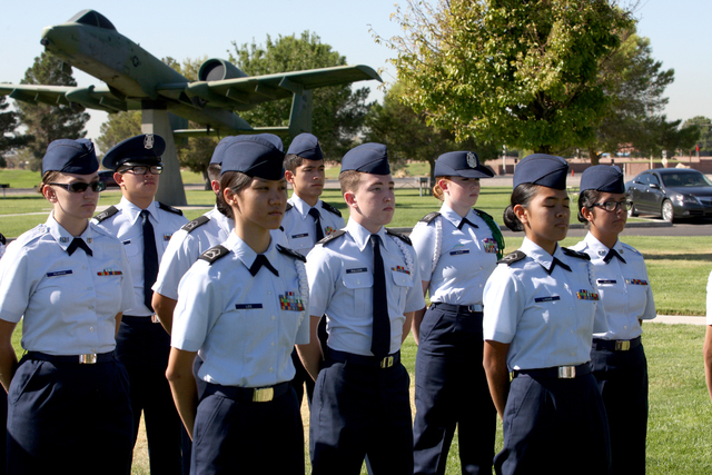 Air Force Junior ROTC cadets from Rancho High School stand at parade rest during a ceremony Friday, Sept 19, 2014, at Nellis Air Force Base to remember prisoners of war and those missing in action ...