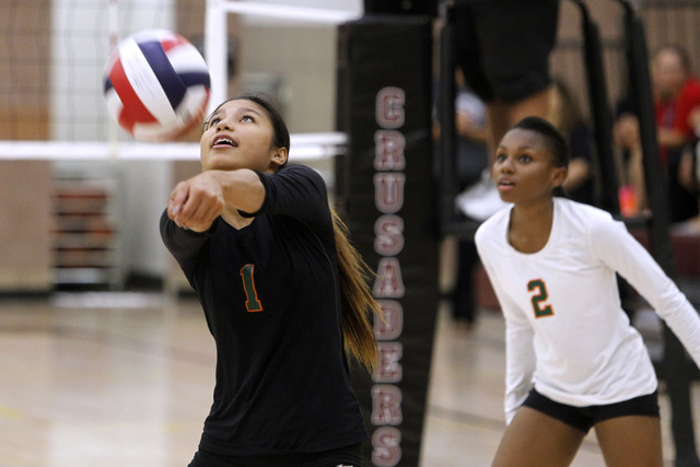 Mojave Girls Volleyball player Sierra Cummings digs a ball during their game against Faith Lutheran Thursday, Sept. 18, 2014 at Faith Lutheran in Las Vegas. (Sam Morris/Las Vegas Review-Journal)