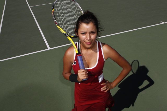 Western's senior Nathalia Luna, 18, poses for a portrait at Western High School in Las Vegas Wednesday, Sept. 3, 2014. Luna is the only returning girl's tennis player from the team this year. (Eri ...
