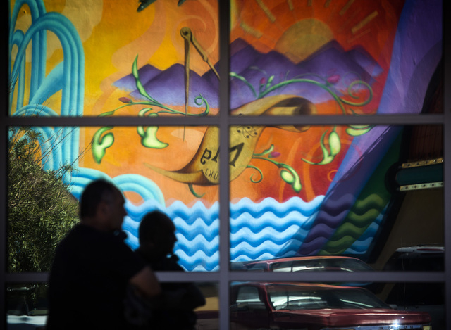 A mural from the Rainbow Club reflects off a window of the Encounter Community Church  at 133 S. Water Street in   Henderson on Wednesday, Sept. 3, 2014. Jeff Scheid/Las Vegas Review-Journal)