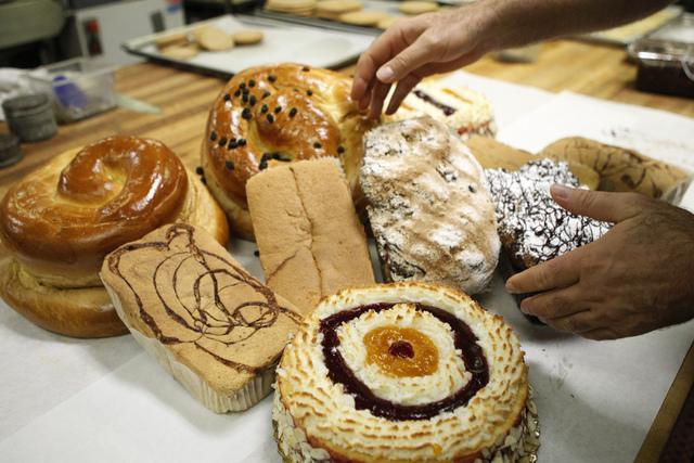 Savvas Andrews, owner of Bagel Cafe, displays baked goods for sale for the Jewish holiday Rosh Hashanah at Bagel Cafe, 301 N. Buffalo Drive, in Las Vegas Wednesday, Sept. 17, 2014. (Erik Verduzco/ ...