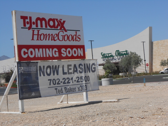 The sign outside the Sahara Center,  10000 W. Sahara Ave., tells of more stores on the way, Aug. 28, 2014. Sprouts Farmers Market opened July 30, and Petco's grand opening was Sept. 6. Stein Mar ...