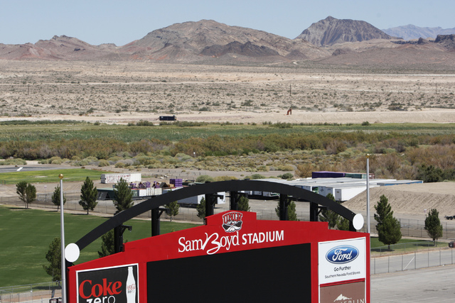 A newly installed scoreboard at Sam Boyd Stadium is seen during a tour Tuesday, Sept. 2, 2014. (Erik Verduzco/Las Vegas Review-Journal)