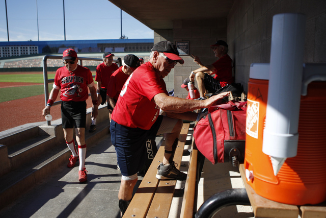 Scrap Iron's Richard Skinner (23), 83, gets ready for his seeding game against Hawaii Seniors in the Las Vegas Senior Softball Association World Masters Championship at Crosley Field at the Big Le ...