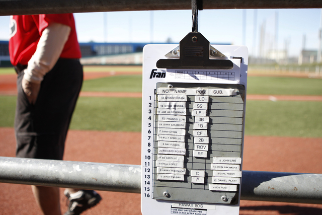 The roster for the Hawaii Seniors softball team is seen at their dugout during their seeding game against Scrap Iron in the Las Vegas Senior Softball Association World Masters Championship at Cros ...