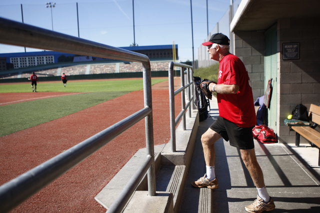 Scrap Iron's David Amster (35) takes the field during their seeding game against Hawaii Seniors in the Las Vegas Senior Softball Association World Masters Championship at Crosley Field at the Big  ...