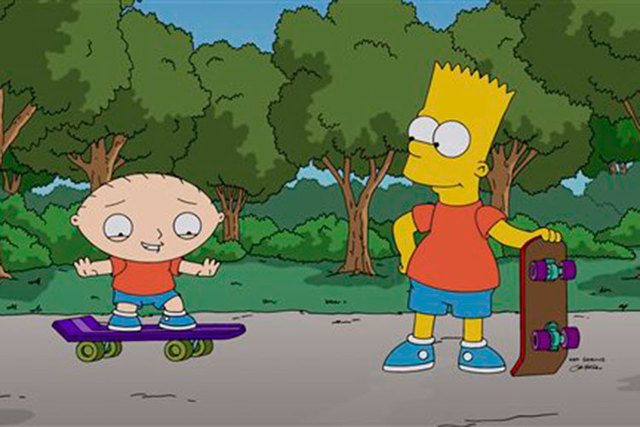 """Stewie Griffin, left, learns to skateboard from his new friend, Bart Simpson, in a scene from """"The Simpsons Guy,"""" the one-hour season premiere episode of """"Family Guy,"""" airing Sunday, Sept. 28, 201 ..."""