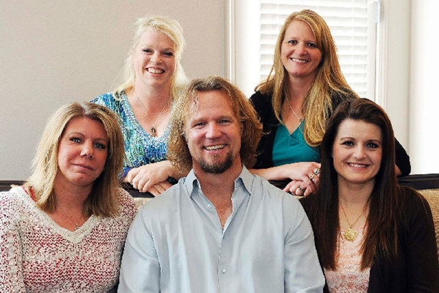 """The Browns, the polygamist family featured on TLC's """"Sister Wives"""" program, include, top row, Janelle, left, and Christine; bottom row, Meri, left, Kody and Robyn at one of their Las Vegas homes.  ..."""