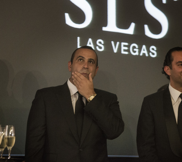 Sam Nazarian, CEO of SBE Entertainment,  during the ceremonial ringing of the bell at  SLS Las Vegas  on Friday Aug. 22, 2014. (Jeff Scheid/Las Vegas Review-Journal)