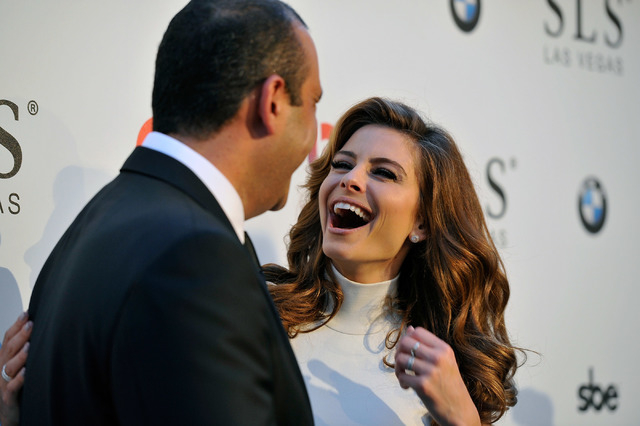 Founder, chairman and CEO of sbe, Sam Nazarian, left,  and television personality Maria Menounos arrive at the SLS Las Vegas for the grand opening celebration on Friday, Aug. 22, 2014. (David Beck ...