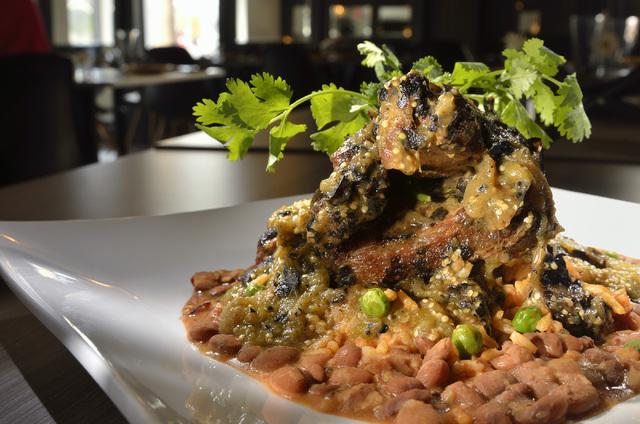 The costillitas en salsa verde, a braised pork rib dish, is shown at El Sombrero.  (Bill Hughes/Las Vegas Review-Journal)