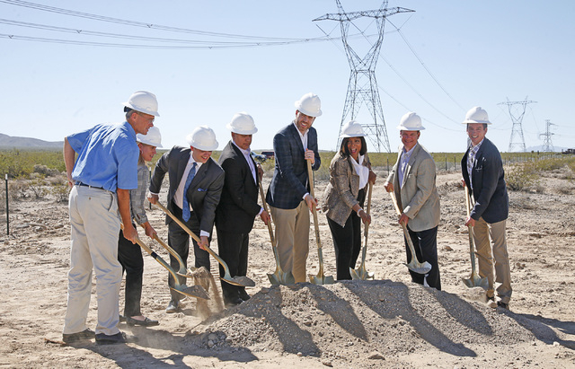 Groundbreaking for the Silver State South solar project near Primm on Wednesday, Sept. 3, 2014. (left to right) Michael O'Sullivan, SVP NextEra; Rebecca Wagner, Nevada Public Utilities Comm ...