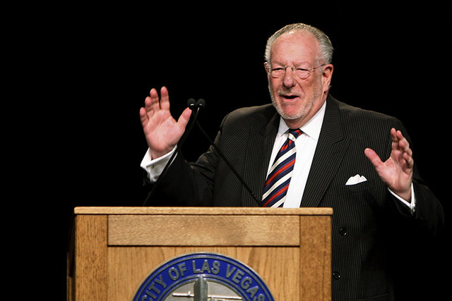 Las Vegas Mayor Oscar Goodman delivers the State of the City address at the Fifth Street School in Las Vegas, Tuesday, Jan. 13, 2009. (John Gurzinski/Las Vegas Review-Journal)