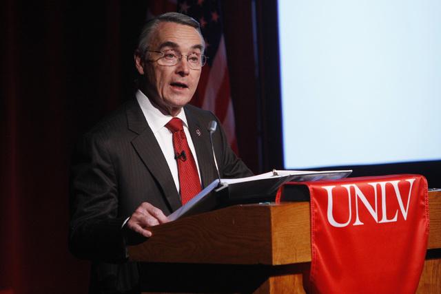 UNLV President Don Snyder speaks during the annual state of UNLV address Thursday, Sept. 18, 2014 in UNLV's Judy Bayley Theater. (Sam Morris/Las Vegas Review-Journal)