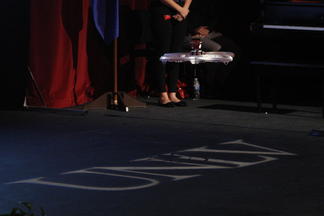 A remote-controlled quad drone lands on the stage as UNLV President Don Snyder speaks during the annual state of UNLV address Thursday, Sept. 18, 2014 in UNLV's Judy Bayley Theater. (Sam Morris/La ...