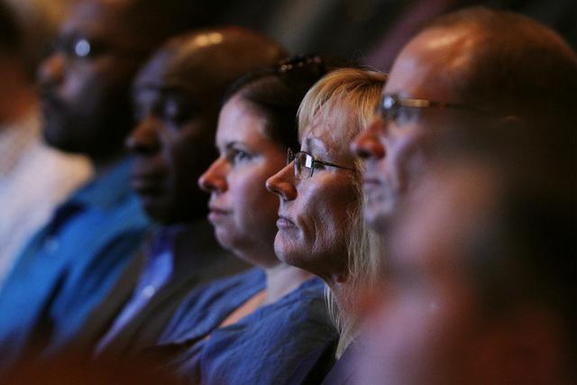 Attendees listen as UNLV President Don Snyder speaks during the annual state of UNLV address Thursday, Sept. 18, 2014 in UNLV's Judy Bayley Theater. (Sam Morris/Las Vegas Review-Journal)