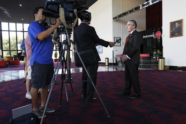 UNLV President Don Snyder speaks speaks to the media after the annual state of UNLV address Thursday, Sept. 18, 2014 in UNLV's Judy Bayley Theater. (Sam Morris/Las Vegas Review-Journal)