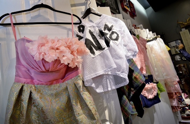 Some of the outfits designed by Huilin Chen are shown during a reception for the designer at ARTIFACT in Town Square Las Vegas. (Bill Hughes/View)
