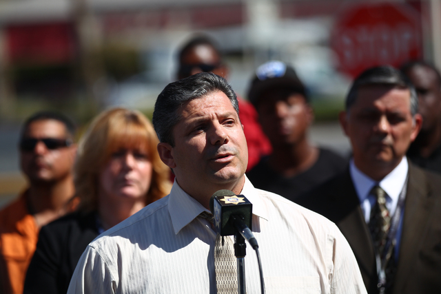 Las Vegas homicide Lt. Ray Steiber speaks during a press conference on Monday, Sept. 29, 2014, about 16-year-old Jose Hernandez Peña who was killed in a drive-by shooting at the Sahara and Decatu ...