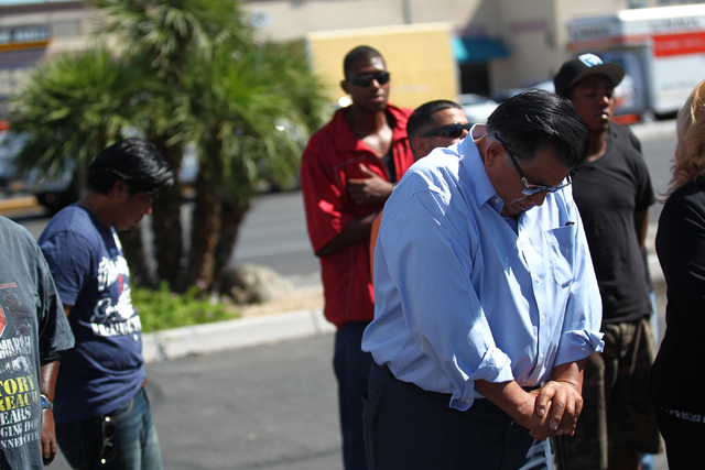 Faith-based leader Ray Cordova is seen during a press conference on Monday, Sept. 29, 2014, about 16-year-old Jose Hernandez Peña who was killed in a drive-by shooting at the Sahara and Decatur i ...