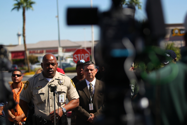 Las Vegas Capt. William Scott speaks during a press conference on Monday, Sept. 29, 2014, about 16-year-old Jose Hernandez Peña who was killed in a drive-by shooting at the Sahara and Decatur int ...