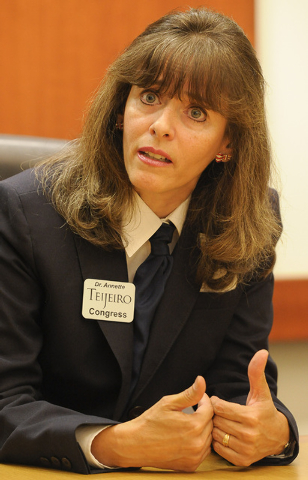 Annette Teijiero, candidate for Congress, District 1, speaks with the Review-Journal editorial board on Thursday Sept. 4, 2014. (Mark Damon/Las Vegas Review-Journal)
