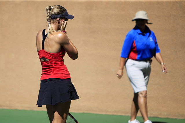 Nicole Vaidisova from the Czech Republic reacts after a double fault during her match against Alexa Glatch of the United States during the Red Rock Pro Open Wednesday, Sept. 24, 2014 at the Red Ro ...