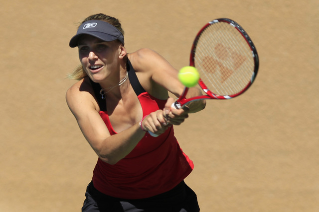 Nicole Vaidisova from the Czech Republic returns a shot during her match against Alexa Glatch of the United States during the Red Rock Pro Open Wednesday, Sept. 24, 2014 at the Red Rock Country Cl ...