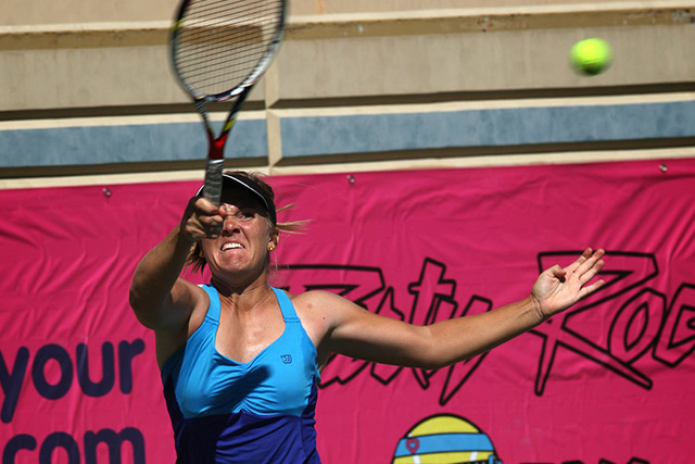 Melanie Oudin, pictured, faces off against CoCo Vandeweghe in the finals of the Party Rock Open tennis tournament at Darling Tennis Center in Las Vegas Sunday, Sep. 29, 2013. Oudin defeated Vandew ...